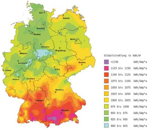 Sonne Einstrahlungskarte Deutschland