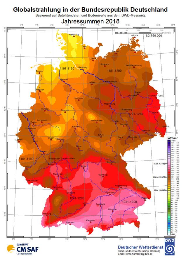 Globalstrahlung Deutschland 2018 - Grundlageneinschätzung für Photovoltaikanlagen