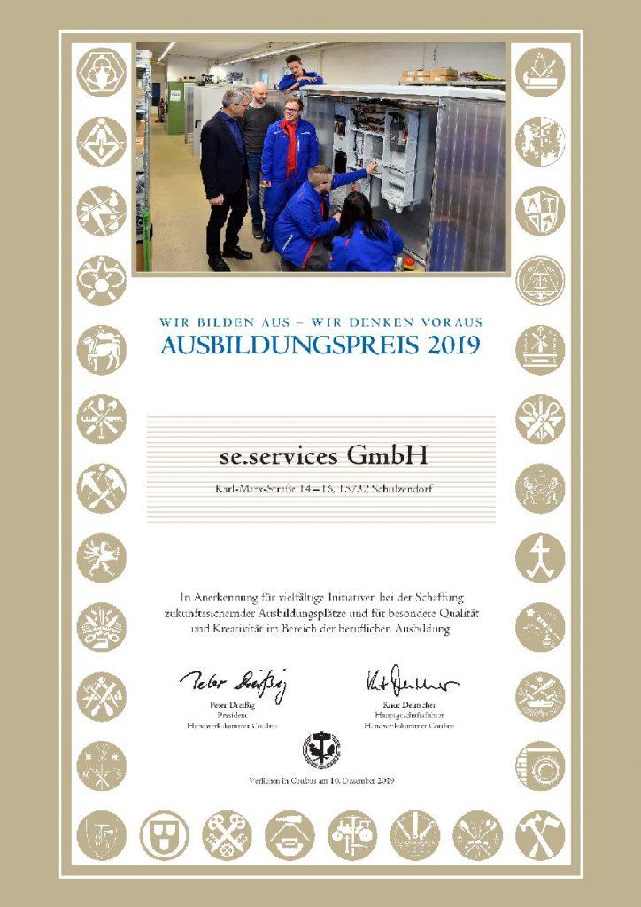 Urkunde Ausbildungspreis 2019